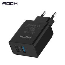ROCK 2 USB port Quick Charger 2.0 Phone Chargers MTK Quick Travel Charger Adapter EU version 240v USB 1 :5V 1A ;USB 2 :5V/2.1A