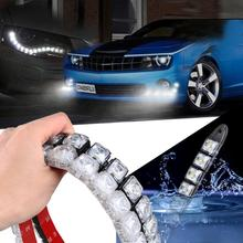 Hot Sale Car Styling Car Accessories Headlight Bulbs 2 PCS COB DRL Driving Fog Lights 6-20 LED Daytime Running Light Flexible