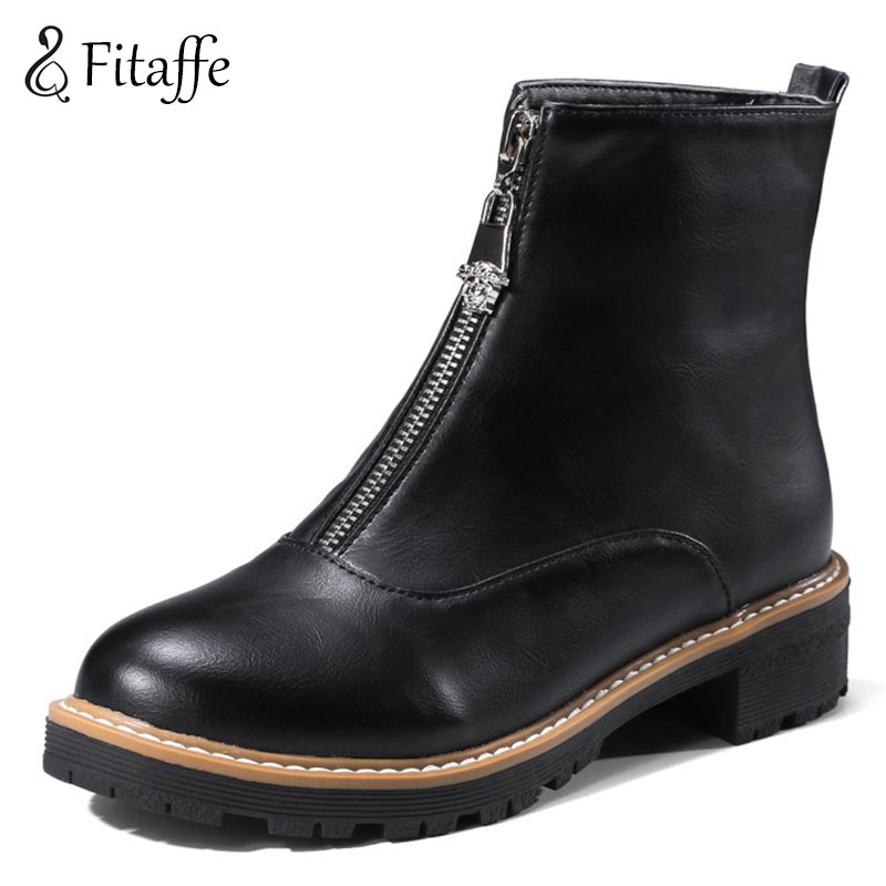 Fitaffe Ankle Boots For Women Zipper Low Heels Womens Boots Autumn Motorcycle Boots Martin Boots Footware Botas Mujer GD002<br>