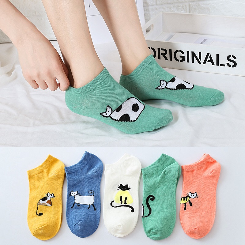 Women High Ankle Cotton Crew Socks Ice Cream Casual Sport Stocking