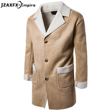 2017 New Arrival Men Casual Trench High Quality Single Breasted Compound lamb hair Design Men Design Coat casaco masculino(China)