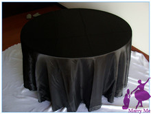 High Quality 108'' satin wedding black tablecloth for large festival