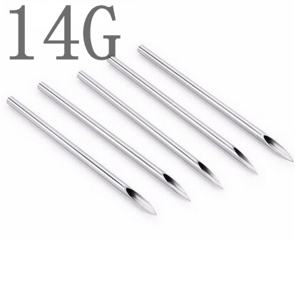 100PCS 14G Body Piercing needles Assorted Sizes Sterile Needles Supply free shipping