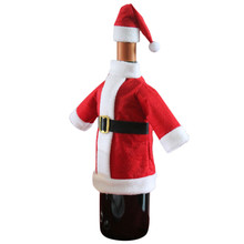 Wine Bottle Cover Bags Decoration Home Party Santa Claus Clothes Hat Christmas(China)