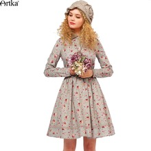 Artka Women's Aurumn Floral Printed Slim Fit Cotton Dress Turn-down Collar Long Sleeve Cinched Waist Dress With Sashes LA10259Q