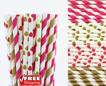 200pcs Mixed 4 Designs Hot Pink and Gold Themed Paper Straws-Striped,Heart Valentines Day Wedding Party Cocktail Drinking Straws