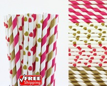 200pcs Mixed 4 Designs Hot Pink and Gold Themed Paper Straws-Striped,Heart Valentines Day Wedding Party Cocktail Drinking Straws(China)