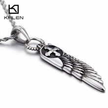 KALEN New Arrival Vintage 60cm Long Chain Necklaces Men's Cheap Stainless Steel Feather Pendant Necklace Homme Jewelry Gift 2017(China)