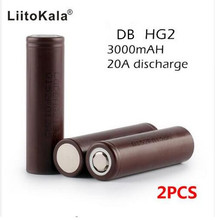 2PCS Original Korea imports battery HG2 battery 18650 3000 mAh 3.7 V discharge 20a, Dedicated electronic cigarette battery power