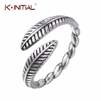 Kinitial 1Pcs 2017 New Unisex Rings Vintage 925 Sterling Sliver Feather In Both Ends Handmade Adjustable Opening Leaves Rings