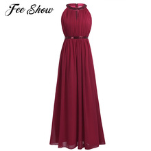 Fashion Burgundy Navy Blue Long Bridesmaid Maxi Dresses 2017 Women Ladies Chiffon Halter Bridal Prom Gown Princess Lace Dresses(China)
