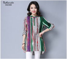 Baharcelin Cotton Linen Fashion Women Clothes chiffon Summer Blouses Striped Long SleeveTops Womens Shirts for Office Work