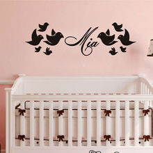Customized Any Name Birds Flock Wall Sticker Vinyl Adesivos Waterproof Wall Decals Kids Room Bedroom Decor Home Accessories(China)