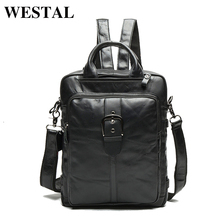 WESTAL Multi-functional Genuine Leather Men Backpacks Travel Bag Backpack Male Women Backpack Schoolbag Business Backpacks 8863(China)
