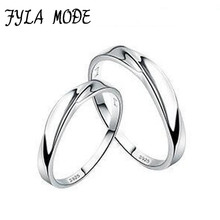 Fyla Mode New New Women And Men Wave Twist Couple Ring Intertwined Love 925 Sterling Silver Lover Ring Romantic Style YH015(China)