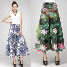 On Sale Low Price high quality Clearance summer print linen wide leg women's trousers national bohemia culottes pants