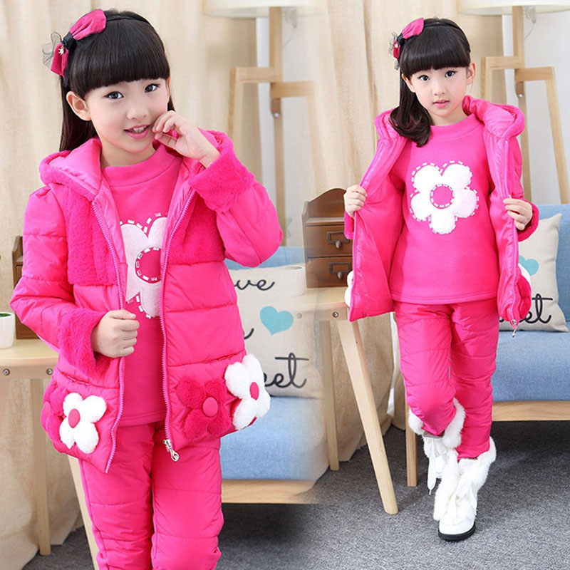 Winter teenage girl kids clothes outfits thick jacket 3pcs sets for toddler girls children sports suit outerwear clothing sets<br>