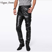 Vogue Anmi.High Quality Autumn Tight Faux PU Leather Pants Men Solid Slim Fit Skinny Men Trousers (Asian Size) Black Color(China)