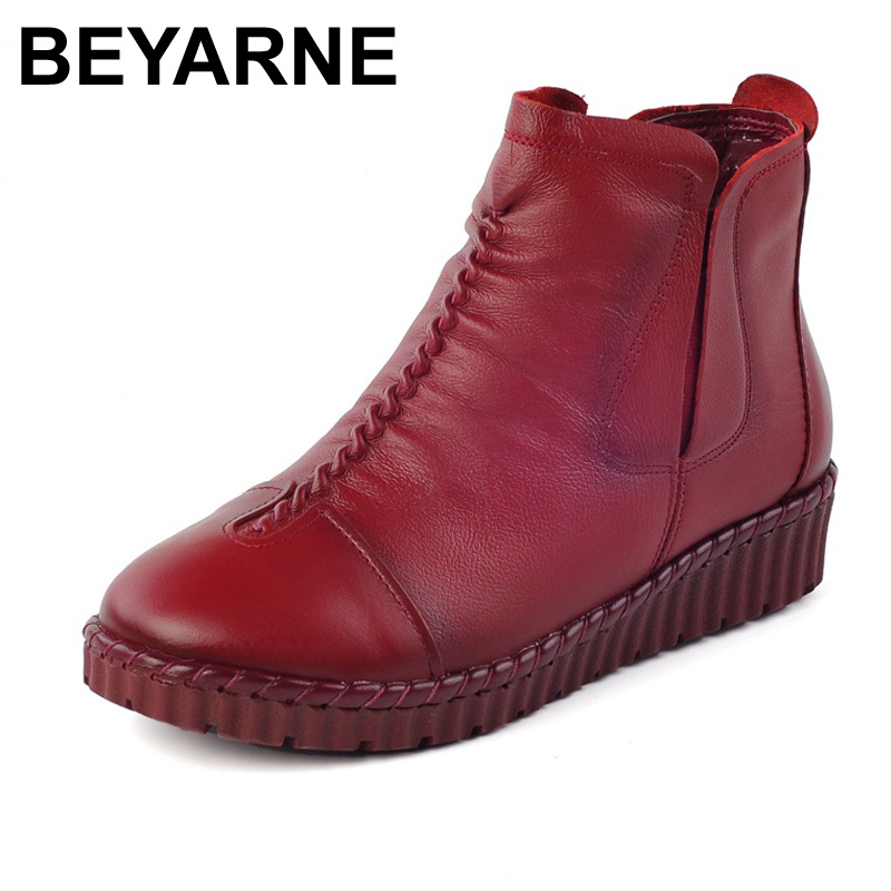 Big Size 35-43 Women Boots Hand-made Genuine Leather Women Ankle Boots Round Toe Zip Winter Boots Soft Comfy Warm shoes Woman<br>