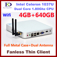 4GB&640GB Metal case  thin client, Terminal pc, desktop pc ,Dual core Intel Celeron 1037U 1.8Ghz,HDMI, WIFI,Windows 7,3D Game