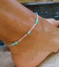 Girl Hot Hand Made Green stone Beads Anklet Foot Legs Foot Chain  Bracelet Decorated Tornozeleira Femininas