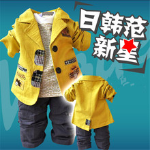 Child spring and autumn baby boy outerwear children's clothing casual cotton 100% 123456 male child blazer Single-breasted