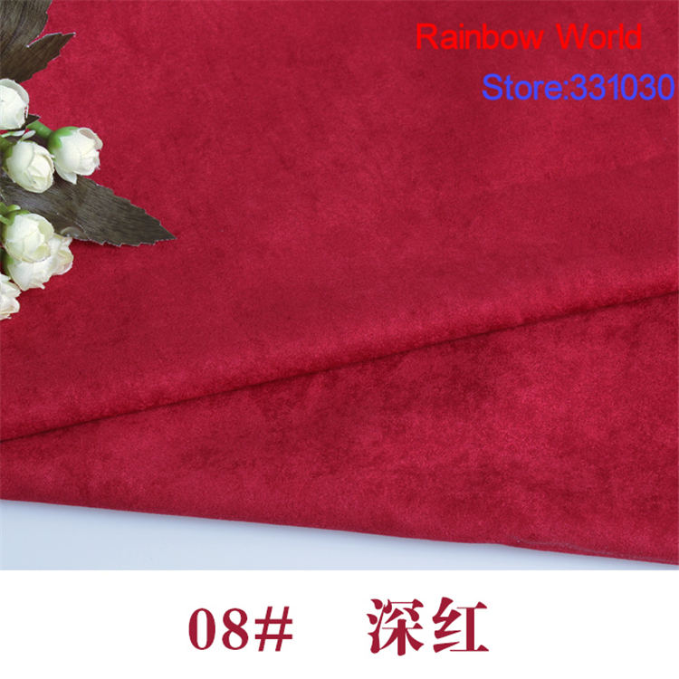 08# deep red 1 meter suede nap fabric for DIY Sofa pillow bag colthes overcoat hat shoe material(China (Mainland))