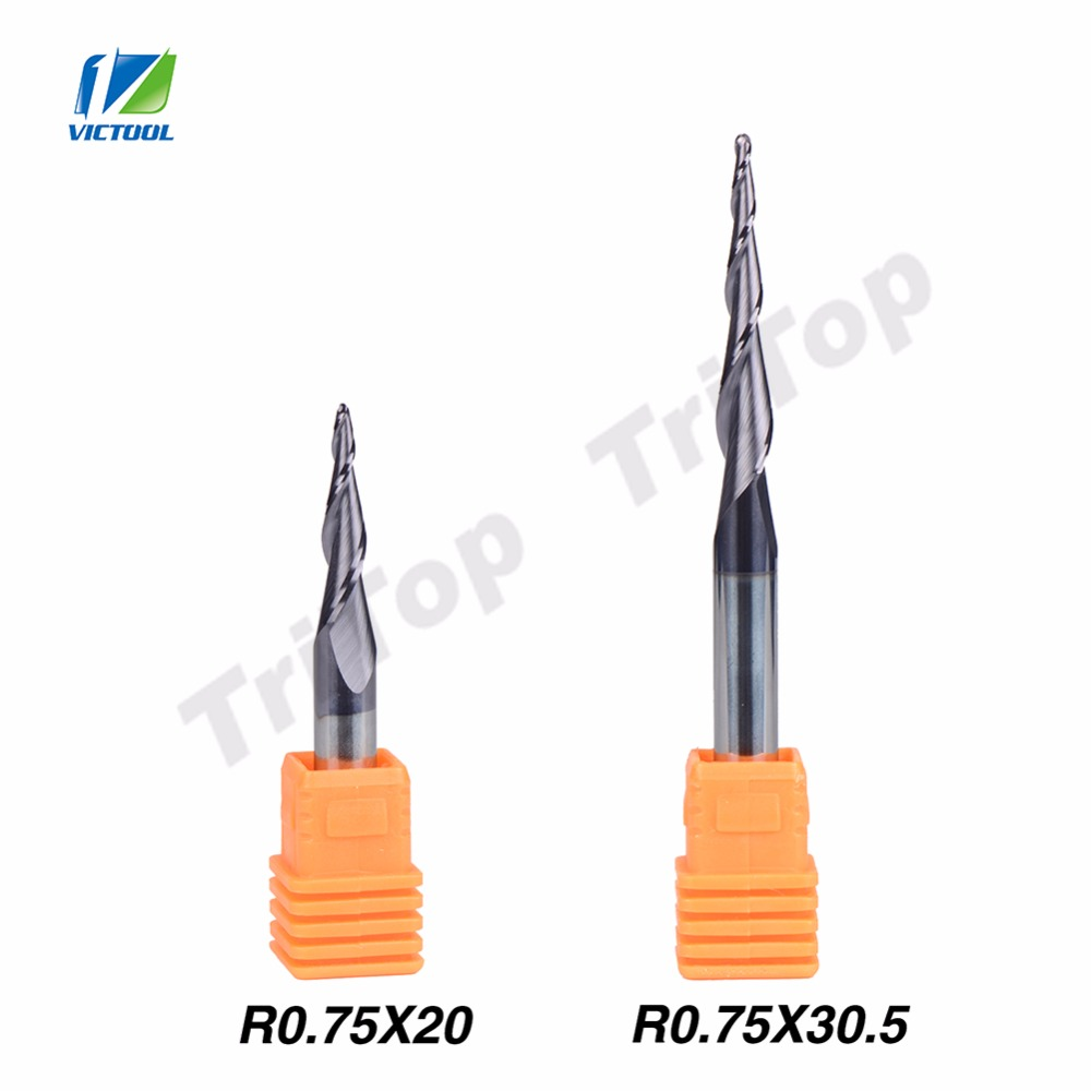2pcs/lot R0.75*D6*20*50L+30.5*75L* solid carbide 6mm Ball Nose Tapered End Mills router bits cnc taper wood metal milling cutter<br><br>Aliexpress