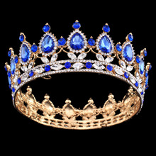 Pageant Full Circle Tiara Clear Austrian Rhinestones King / Queen Crown Wedding Bridal Crown Costume Party Art Deco