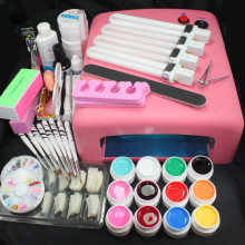 Pro 36W UV GEL Pink Lamp & 12 Color UV Gel Nail Art Tool Kits Sets Nail Oil Top Coat Primer buffer file cutter