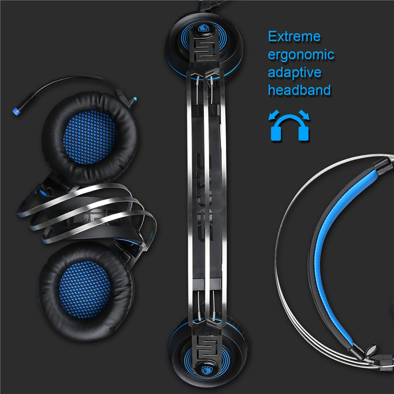 Sades A7 USB Gaming Headset Headphones 7.1 Stereo Surround Sound Earphone Game Headphone with Microphone Led for PC Laptop Gamer (7)