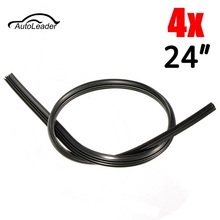 4 Pcs 24 Inch 6mm Cut to Size Universal Vehicle Car Replacement Rubber Wiper Blade Refill