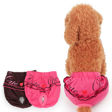 Sexy Embroidery Lace Female Dog Diaper Reusable Durable Soft Cotton Dog Sanitary Panties Wrap for Small Medium Pet Dog XS-L size(China)