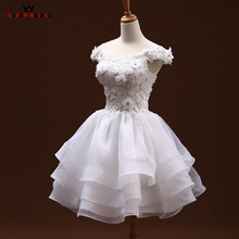 Custom Size Ball Gown Cap Sleeve Lace Flowers Short Elegant Wedding Dresses Bridal Wedding Gowns 2018 Vestido De Noiva WD102(China)
