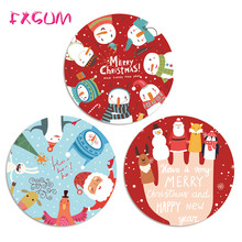 FXSUM Mousepad Merry Christmas Round Mouse Pad Gaming Optical Computer Mouse Mat Soft Silicone Mice Pads As Christmas Gift