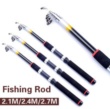 2.1M/2.4M/2.7M Portable Telescopic Fishing Rod Travel Spinning Fishing Pole Glass Fiber Sea Rod Fishing Tackle Tools GYH