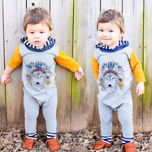 Newborn Baby Boys Girls Indian Wolf Hoodie Romper Jumpsuit Outfits Clothes  Sep13