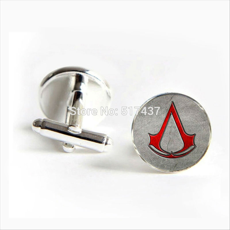 2017 Free Shipping Assassin's Creed Red Logo Cufflinks Assassin's Creed Cufflink Shirt Cufflinks Women(China)