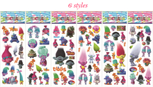 10sheets Trolls Stickers Toy 3D Foam Cartoon Stickers Toy Birthday Party Decoration for Kids Gifts 6 styles Mix