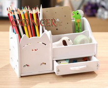 Multi - Functional Pen Holder Students Cute Desktop Wood Accessories Stationery Barrels Storage Box Dd1302(China)