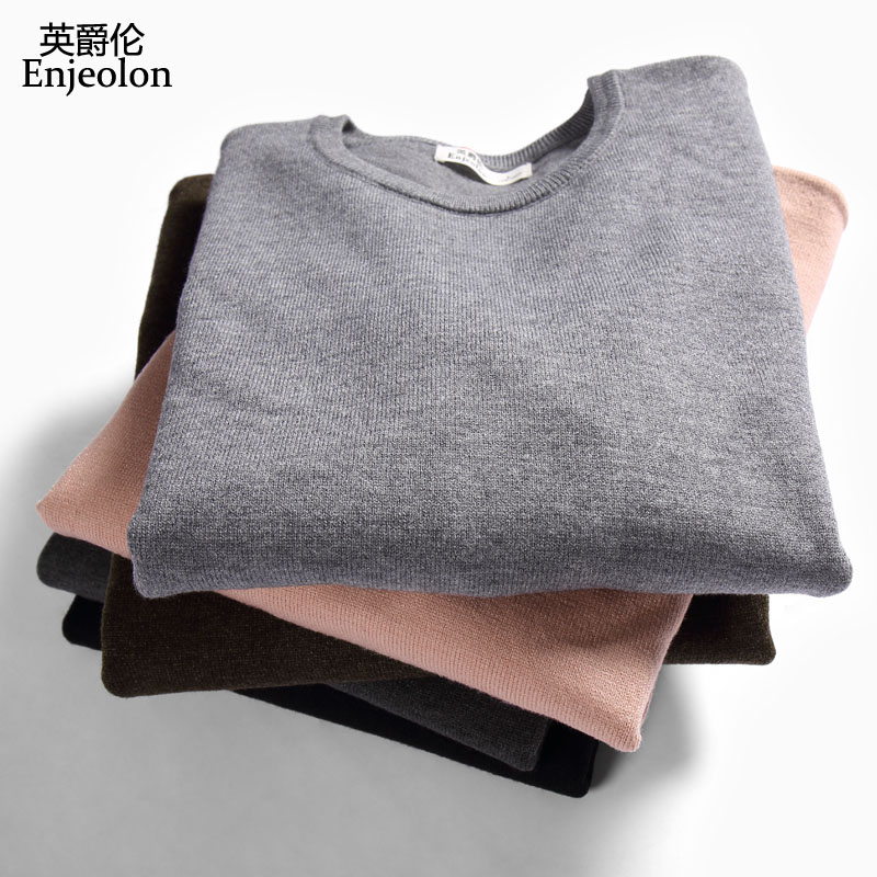 Enjeolon brand winter knitted pullover Sweaters man o neck S 3XL sweater wool men 5 color casual warm pullover Sweater MY3425