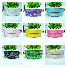 20colors 50yards/lot 7/8'' 22mm Silver foil Flower swirl printed grosgrain ribbon TSDFPGR02250Y()