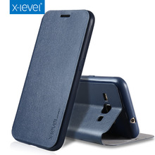 X-Level PU Leather Flip Phone Case for Samsung Galaxy J1 2016 Luxury Business Style Stand Case Cover For Samsung J1 2016(China)