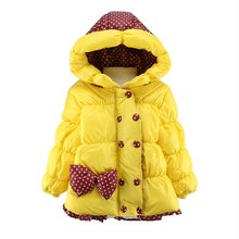 Winter Baby Girl Warm Coats Jackets Toddler Clothing Parkas Girls Clothes Hooded Cartoon Flower Children Outerwear