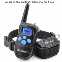 300M Dog Trainer Waterproof Rechargeable LCD Remote Pet Dog Training Collar Electric Shock Large Dog Control Blue Light Blue Key(China)