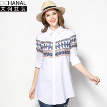2017 retro bloues shirts ladies large size new fashion print 3 quaters sleeve cotton women's shirts