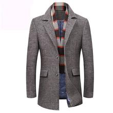 new Winter Coat Men Windbreaker Jacket Detachable Scarf Thickened Casual Single Breasted Thick blazer plus size M L XL 2XL 3XL(China)