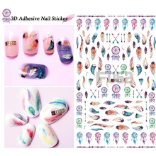 1pcs Dream Catcher Nail Art Sticker 3d Colorful Feather Windmill Designs Beauty For Nails Decor Polish Tips SAF049-058(China)