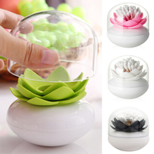 New Arrival 1 Pc Lotus Home Decor Toothpick Cotton Bud Swab Holder Storage Box 4 Colors BI92(China)