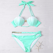2pcs/set Mermaid Shell Bikinis Set Bra Design Two-Piece Suit Swimwear Gradient Color Beachwear Sexy Swimsuit Bikini Beachwear(China)